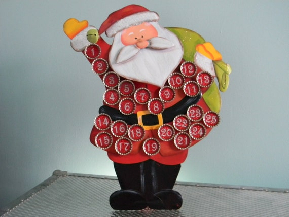 LAST ONE Christmas Countdown Advent Calendar Santa Claus with 25 Glitter Bottle Cap Magnets Limited Availability