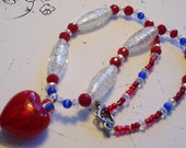 Red, White and Blue Heart Lampwork Glass