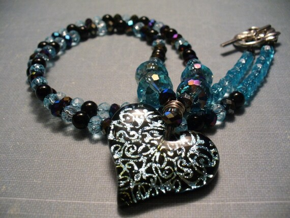 Black & Blue Dichroic Heart Glass with Crystals Pendant Necklace