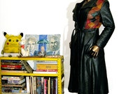 vintage 1970s black leather hot HOT hot patchwork midi coat superfly & super fitted YOW
