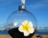 Black Sand and Sea Shell Hawaiian Glass Ornament