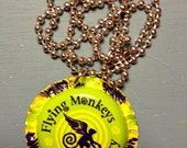 Flying Monkey Craft Brewery beer  cap necklace - a Studio No. 9 recycled image/object pendant- If you drink, don't drive.  Don't even surf.