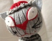 Zomcat  - Mo' Mutants by Monica Cranwell aka Magpie Mo' - a one of a kind sock creature for the zombie & cat  lover - BRAINS