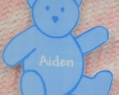 Personalized baby diaper bag tag teddy bear shape by Toddle Tags