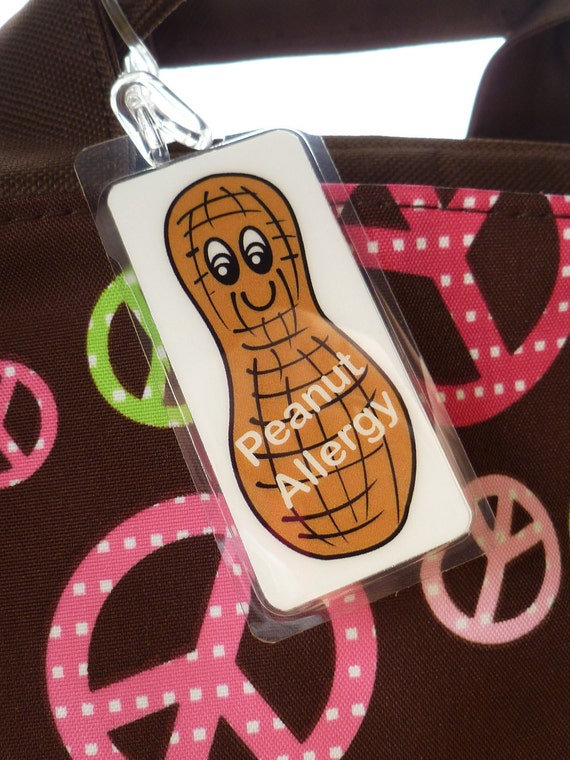 Peanut Allergy Alert bag tag, allergy alert tag by Toddle Tags
