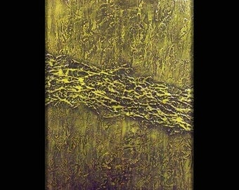 Original Modern Abstract Art Painting by Michael Joseph - ready to hang - 30x40 inch - green texture sculpture