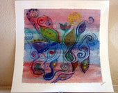 Abstract art - soft colors - curves with paisley and swirls