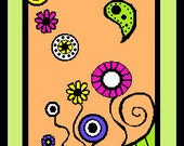 colorful ACEO computer digital download  colorful retro flowers art  bright colored print mod flower power print