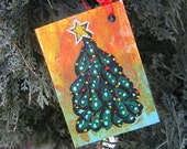 ACEO Christmas Ornament  Christmas tree art card Holiday painting ATC small format art SFA