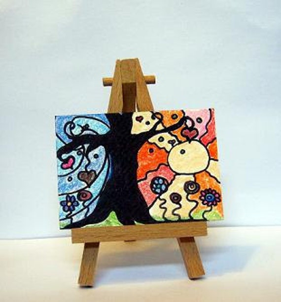 ACEO  abstract landscape - tree with orange and blue - springtime art card - hearts and flowers