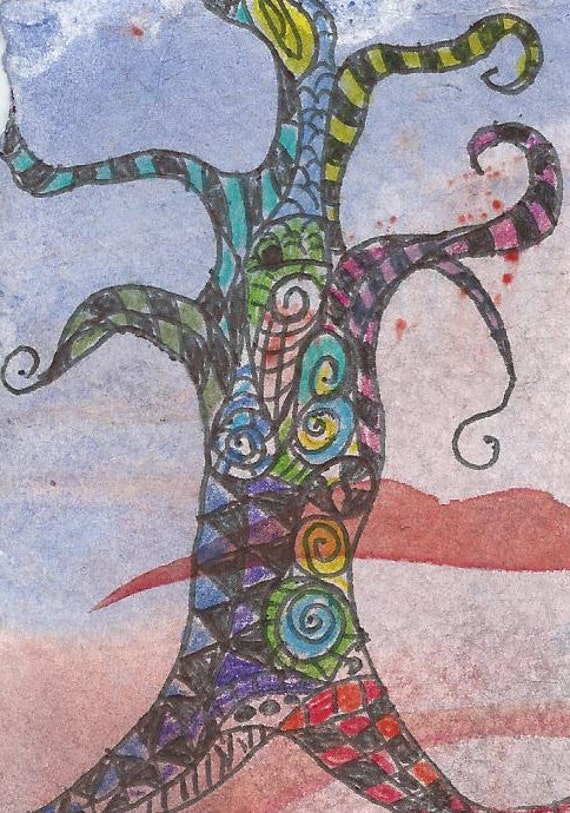 ACEO miniature watercolor - marker and pen - whimsical art