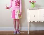 CLEARANCE Girls Picnic Skirt- 2t- Pink and Green Patchwork- LAST ONE-  Children Spring Fashion