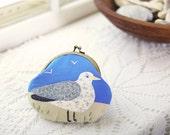 Bird Purse- Seagull Coin Purse- Handmade Seagull Applique- Blue Grey Beige- Beach- Gift for Her- Birthday Present