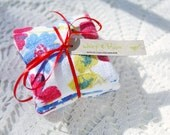 Lavender Sachets: Set of 3- Teacher Gift- Hostess Gift- Red & Blue Recycled Vintage Floral Tablecloth- Gift for Her- Stocking Stuffer