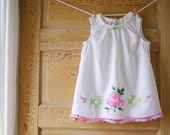 Handmade Baby Dress-2T- Shabby Chic Vintage Pillowcase Dress- Pink & Green Roses Embroidery- Heirloom Baby Shower Gift