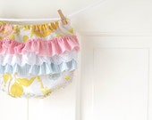 Ruffle Butt Diaper Cover Bloomer- Yellow and Pink Vintage Floral- 6m 12m 18m- Baby Shower Gift- Baby Spring Fashion- Recycled