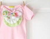 Pink Ruffle Onesie- Pastels on White Vintage Floral-  6m 12m 18m- Baby Shower Gift- Children Spring Fashion- Ecofriendly