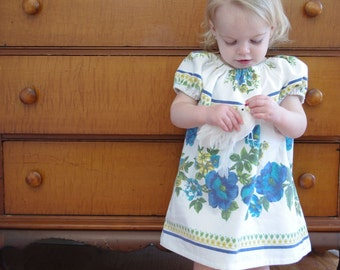 Floral Baby Dress- 18m- Recycled Vintage Tablecloth - Blue & White Floral- Children Spring Fashion- Ecofriendly