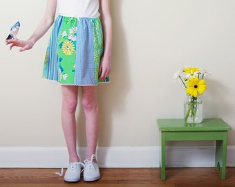 SALE 3T, 8 Girls' Picnic Skirt-  Blue and Green Floral, Paisley, Gingham Patchwork Skirt- Recycled- Ecofriendly- CLEARANCE