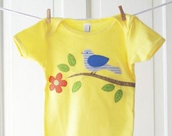 SALE 12-18m Baby Girl Bird Onesie- Lemon Yellow Orange Blue Handmade Bird Applique Onesie- Baby Shower Gift- LAST ONE!