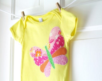 SALE 12m, 18m Baby Girl Butterfly Onesie- Lemon Yellow and Pink Handmade Butterfly Applique Onesie- Baby Shower Gift- CLEARANCE