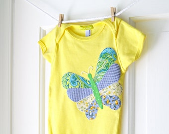 SALE 6-12m Baby Girl Butterfly Onesie- Lemon Yellow and Blue Handmade Butterfly Applique Bodysuit- Baby Girl Shower Gift- CLEARANCE