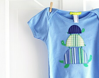 SALE 3-6m Baby Boy Turtle Onesie- Blue Handmade Applique Bodysuit- Newborn - Recycled Dress Shirts - Baby Shower Gift- Clearance- LAST ONE!