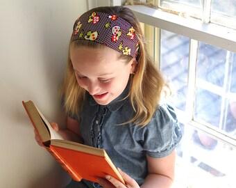 Kawaii Mushrooms Headband: Brown & Orange Wide Headband- Tween Hair Accessory- Gift for Her - Stocking Stuffer