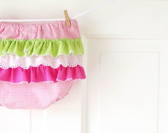 SALE 12m Pink Gingham Bloomer 12m- Baby Girl Ruffled Diaper Cover- pink & green- Baby Shower Gift- Baby Spring Fashion- Sale