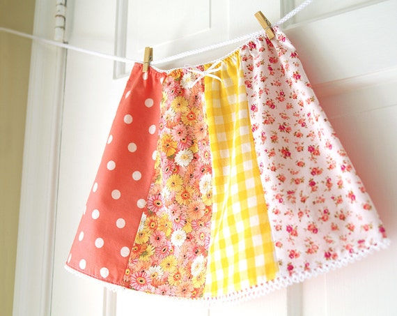 CLEARANCE Girls' Picnic Skirt- size 8 -LAST ONE- Peach Floral & Yellow Gingham Vintage Inspired Patchwork- Handmade- Spring Fashion