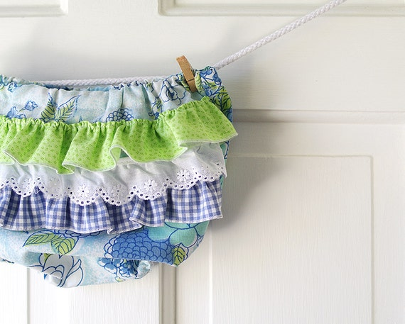 Ruffle Butt Diaper Cover Bloomer- light blue and apple green- 6m only- Baby Shower Gift- Baby Spring Fashion- Recycled