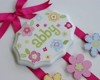 Hand Painted and Personalized 7 x 9 hair bow holder (6)