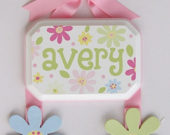 Hand Painted & Personalized 5x7 Hair Bow Holder (1)