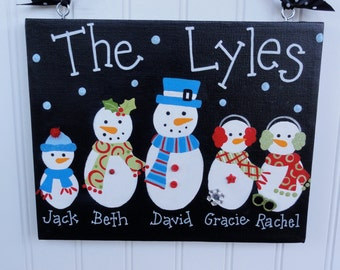 Personalized 8 x 10 Family Snowman Holiday Canvas