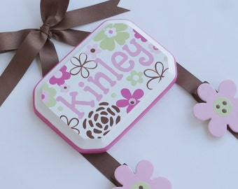 Hand Painted and Personalized 5x7 hair bow holder (5)