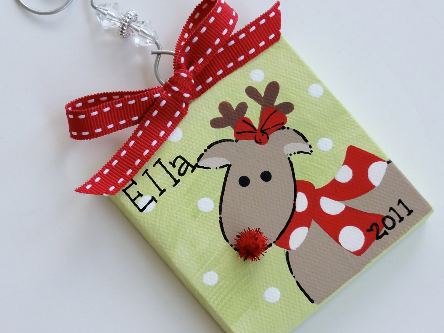 hand painted canvas rudolph the reindeer ornament. Black Bedroom Furniture Sets. Home Design Ideas