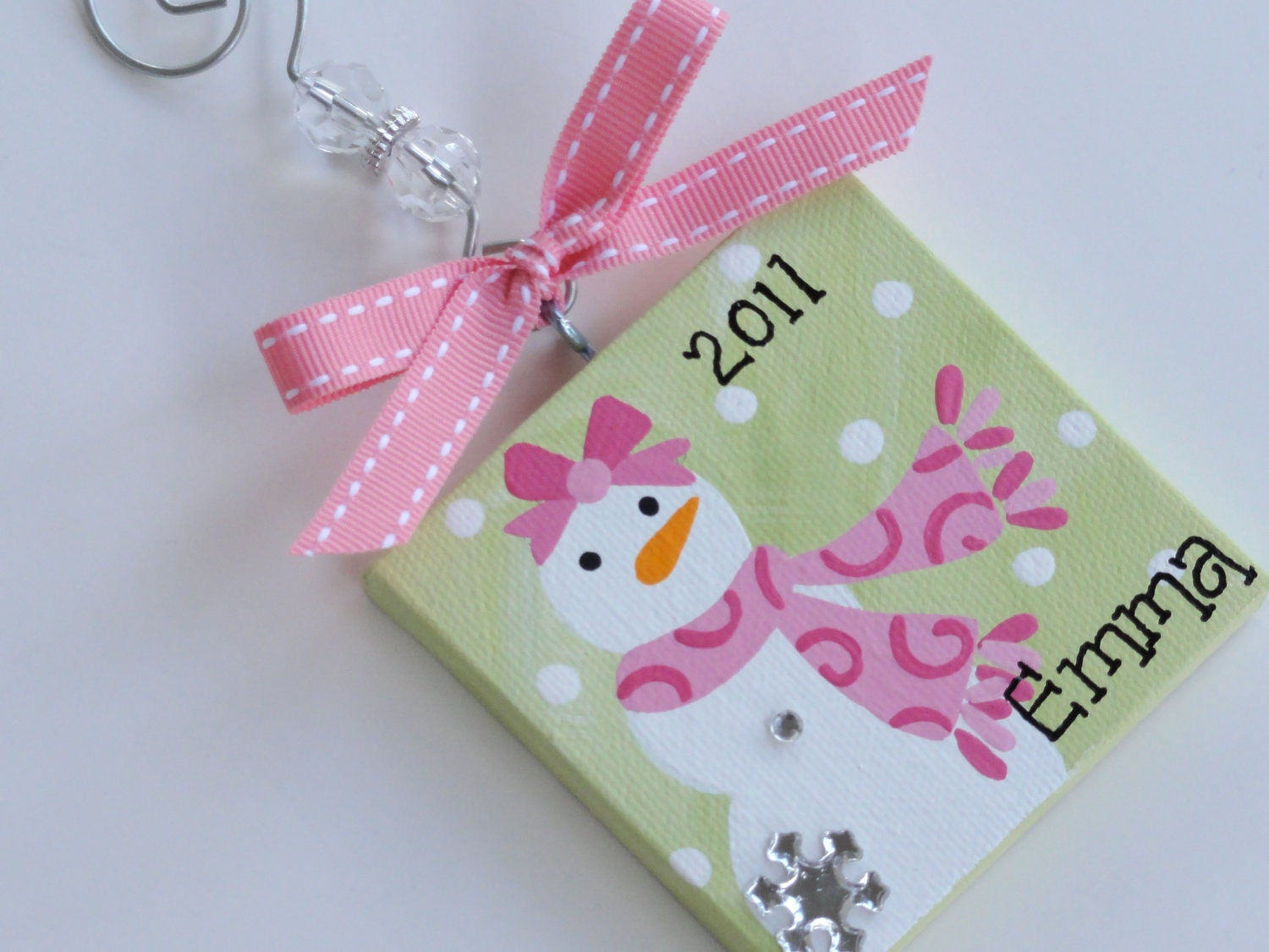 3x3 Canvas Christmas Ornament Personalized