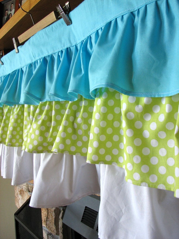 3 Tiered Ruffle Valance - 52 inches by 18 inches