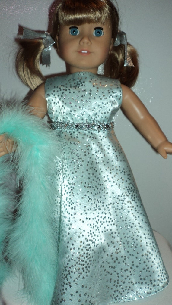 American Girl doll clothes - Mint Green Gown and Boa