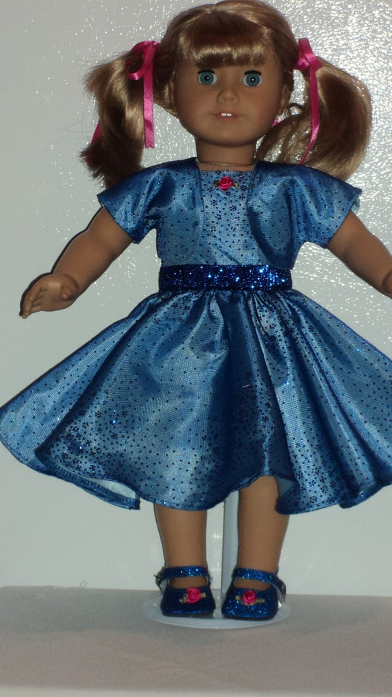 American Girl doll clothes - Royal Blue Glitter Dress & Shoes