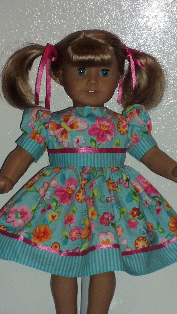 American Girl doll clothes - Aqua Blue Floral  Dress