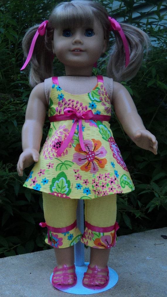 American Girl doll clothes - Yellow/Pink Capri, Top & Jelly Shoes