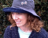 LARGE (ADULT) Corduroy Reversible Sun Hat w/ Applique- Navy / Charcoal