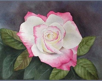 Vanderbilt Rose Original Watercolor Painting