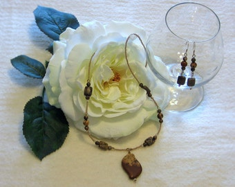 Paint Brush Jasper Necklace and Earring Set