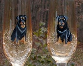 Rottweiler Hand Painted Champagne Glasses ~ Handpainted Rottweilers ~ Anniversary Gift ~ Dog Wine Glasses