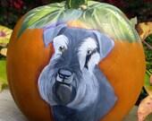 Schnauzer Pumpkin ~ Handpainted Faux Pumpkin ~ Schnauzer Painting ~ Dog Pumpkin