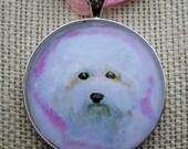 Bichon Frise Pendant Original Art Necklace Mini Painting