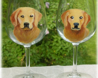 Reserve Sale for LIvvy ~ Golden Retriever Glasses ~ Hand Painted Wine Glasses ~ Set of Two ~ Dog Wine Glasses ~ Custom Gift