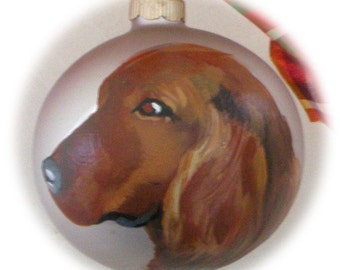 Irish Setter Hand Painted Ornament Silver ~ Birthday Gift ~  Pet Memorial ~ Gifts for Him